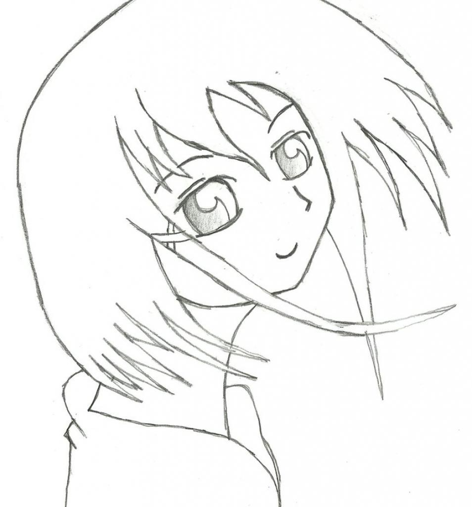 954x1024 Anime Simple Drawings Simple Anime Girl Draw Ramborocky