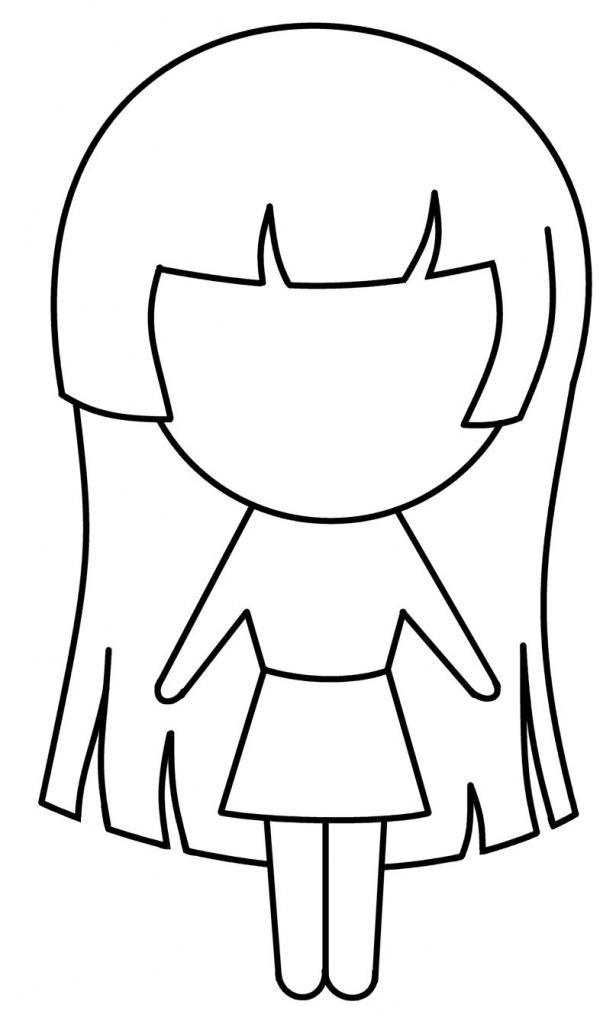 616x1024 Anime Simple Drawing Anime Girl Drawing Clipart