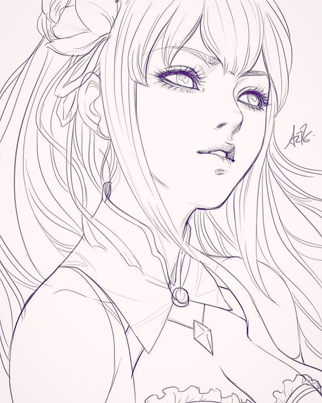 640x800 Photos Anime Girl Face Sketch,
