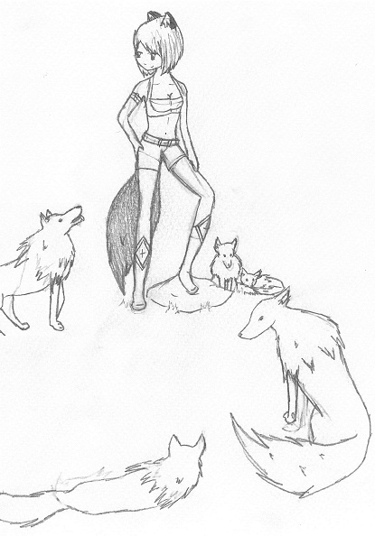 Anime Wolves Drawing