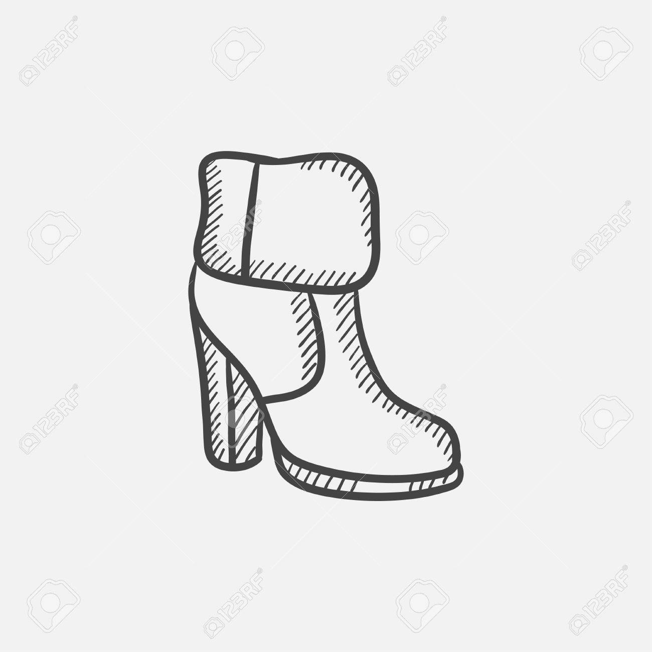 1300x1300 High Heeled Ankle Boot With Fur Sketch Icon Set For Web, Mobile