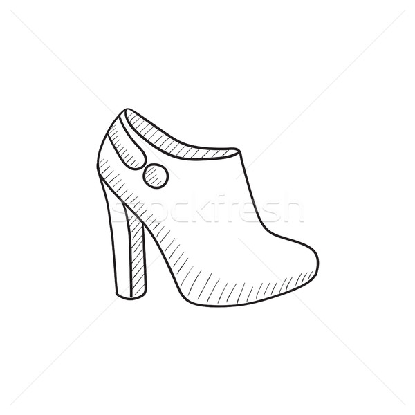 600x600 High Heeled Ankle Boot Sketch Icon. Vector Illustration Andrei