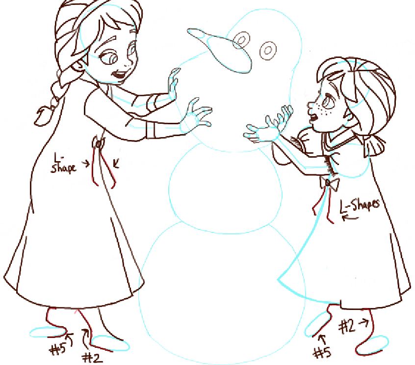 846x743 How To Draw Princess Anna And Elsa Building A Snowman From Frozen