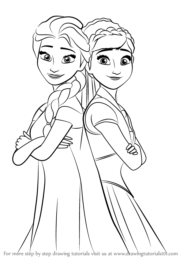 598x844 Learn How To Draw Elsa And Anna From Frozen Fever (Frozen Fever