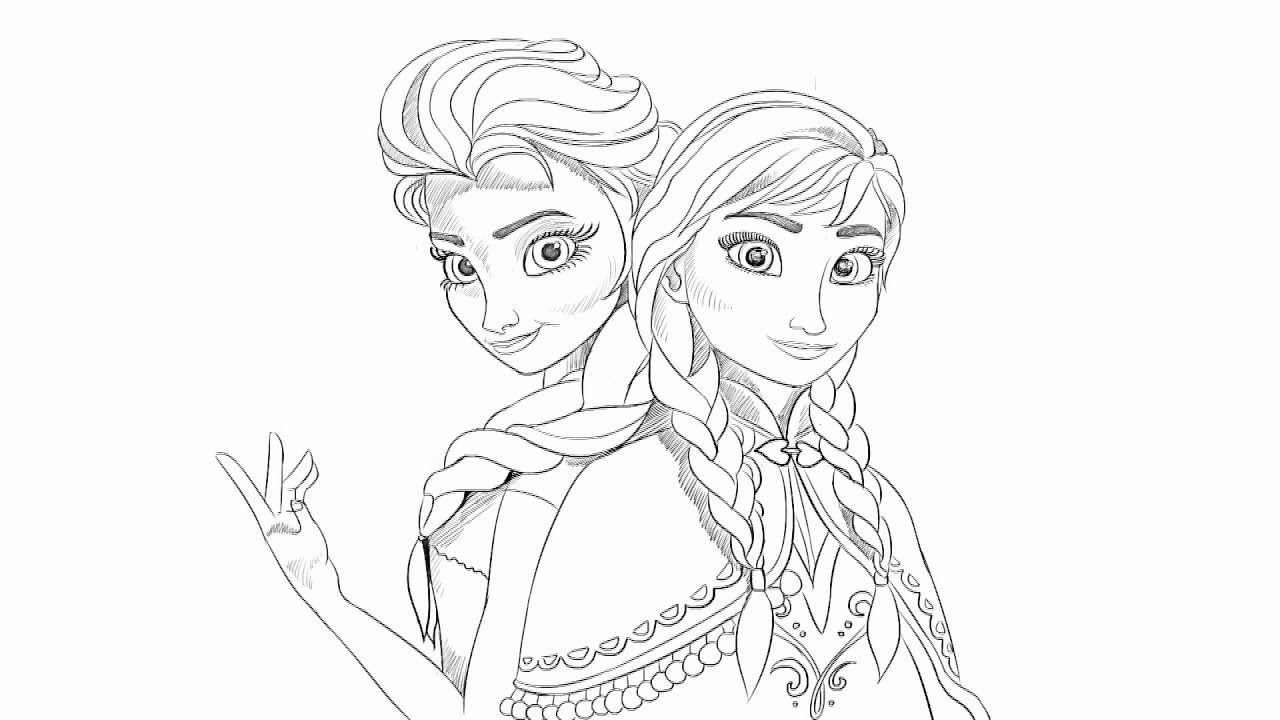 1280x720 Anna And Elsa Drawing How To Draw Anna And Elsa From Frozen