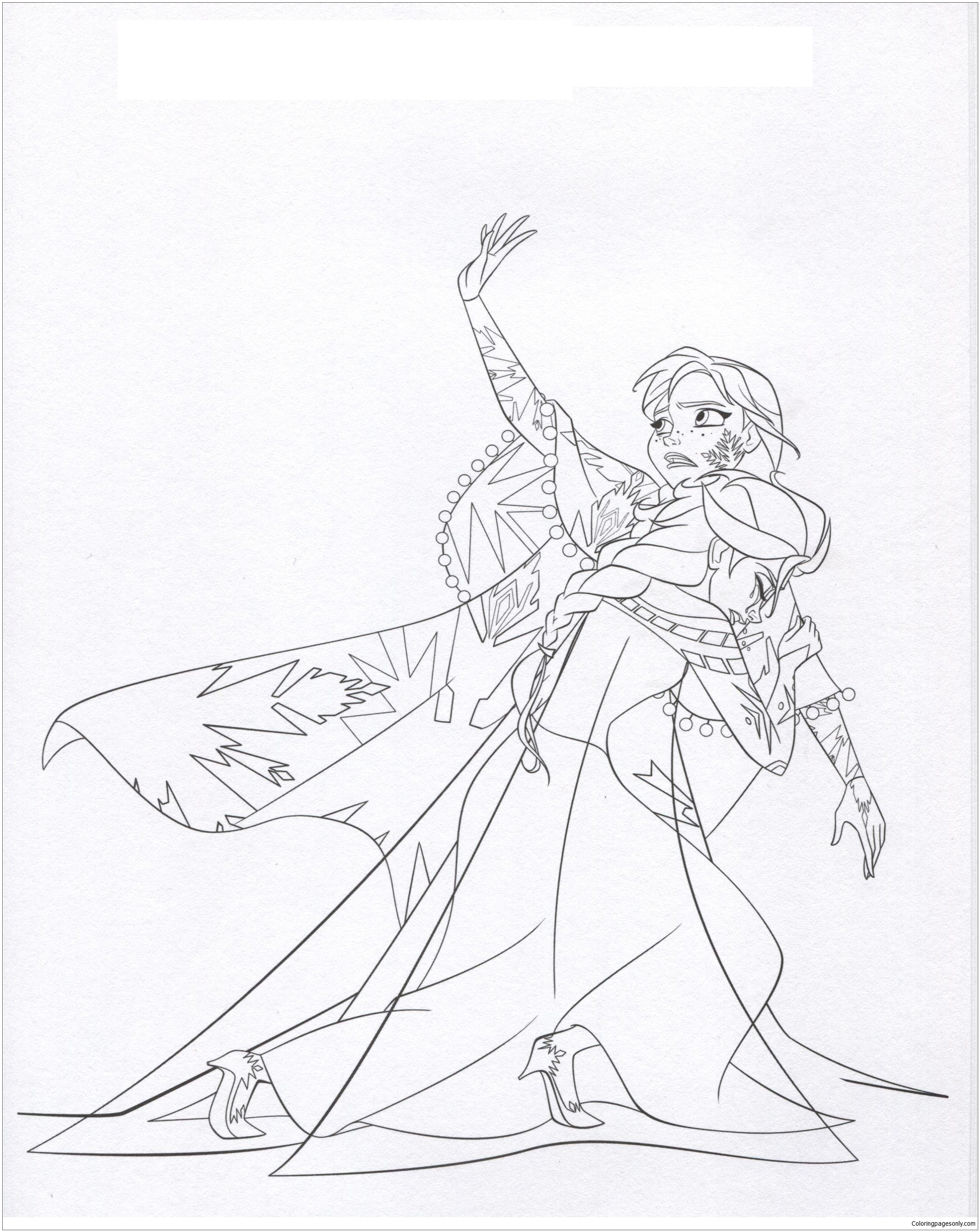 2190x2754 Anna Tries To Save Elsa Coloring Page