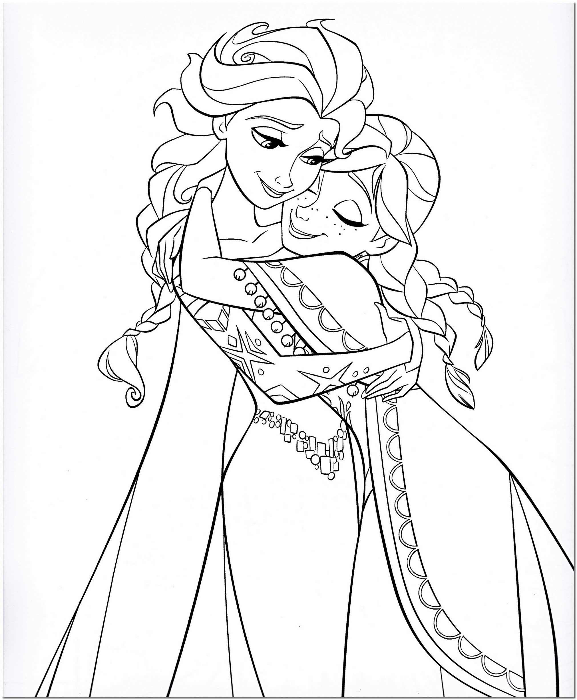 2021x2454 Coloring Page Elsa And Anna Download Drawing Board Weekly