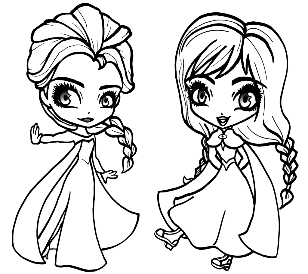 1024x910 Chibi Anna And Elsa From Frozen