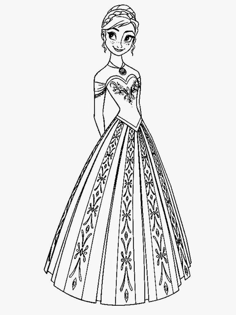 768x1024 Frozen Fever Anna Coloring Pages