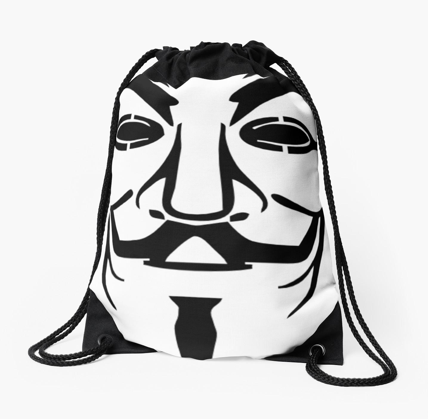 1435x1404 Anonymous Mask Silhouette Drawstring Bags By Ravanna Lotus