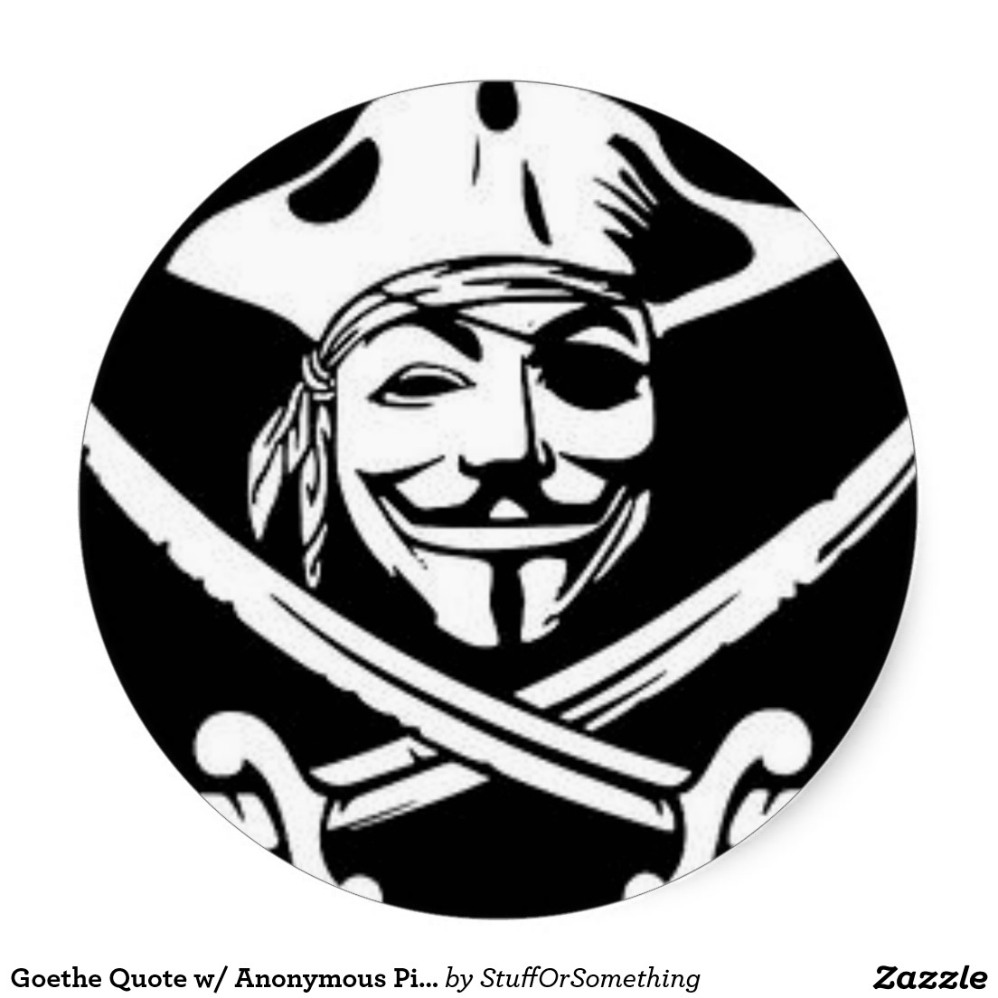 1104x1104 Anonymous Pirate Classic Round Stickers What People Have Bought