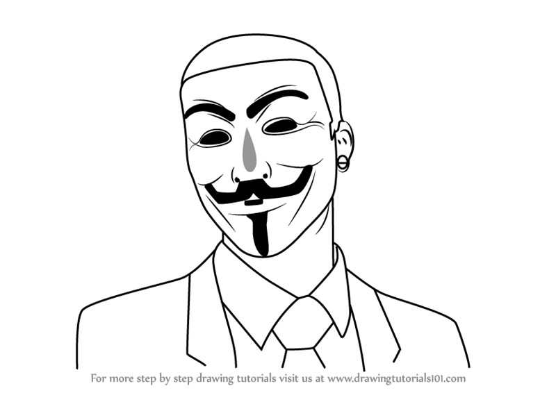 800x566 Learn How To Draw An Anonymous Hacker Mask (Mascots) Step By Step