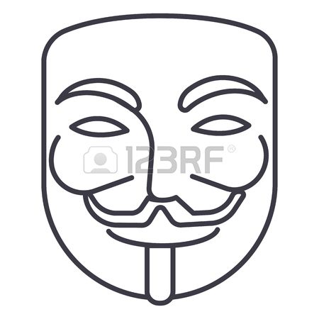 450x450 Anonymous,mask Carnival,hacker Vector Line Icon, Sign