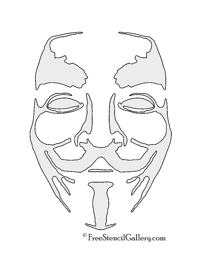 850x1100 Anonymous Mask Drawing Anonymous Guy Fawkes Mask Stencil Free