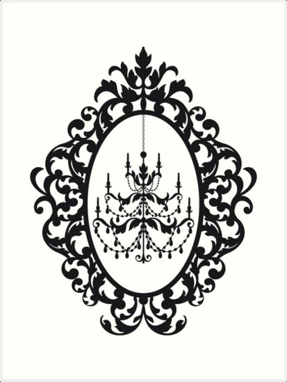 c0e4117a7a2e 413x549 Vintage Chandelier In Antique Picture Frame Art Prints By
