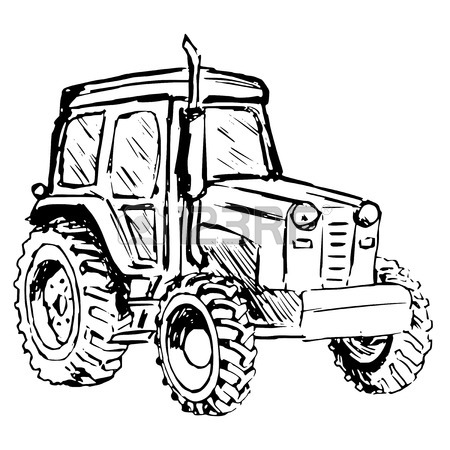 450x450 Hand Drawn, Cartoon, Sketch Illustration Of Tractor Royalty Free