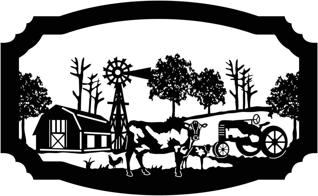 1024x632 Sign Farm Scene Of Barn, Cow, Calf, Rooster, Windmill And Old