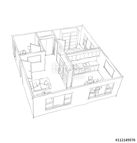 apartment drawing at getdrawings free for personal use Electrical Wiring Diagrams 481x500 2d interior pen freehand sketch drawing on white background