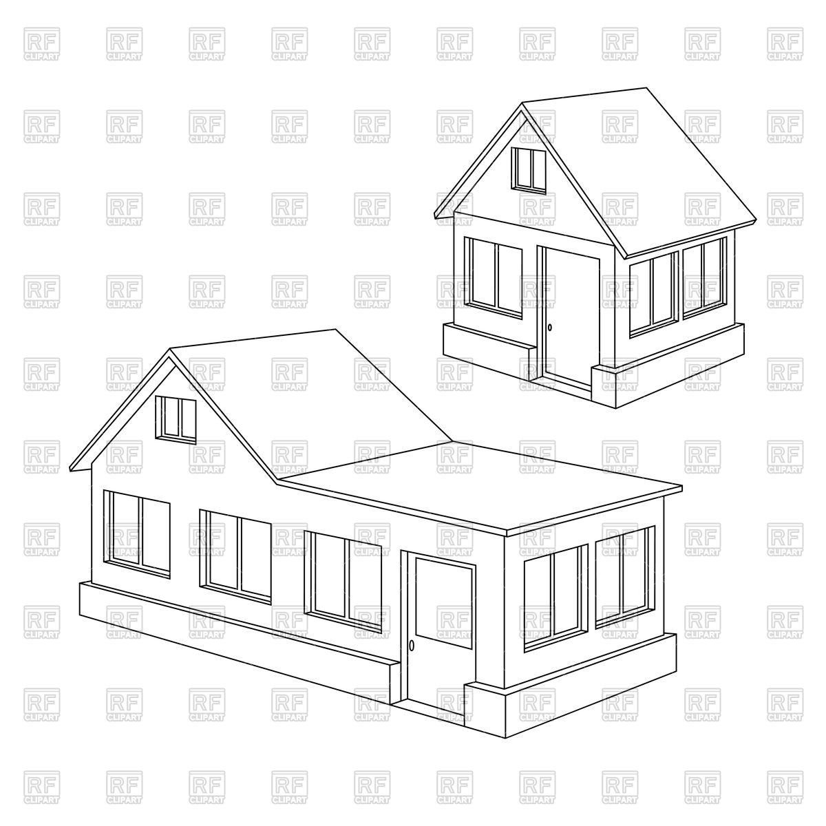 1200x1200 Apartment House Contour Royalty Free Vector Clip Art Image