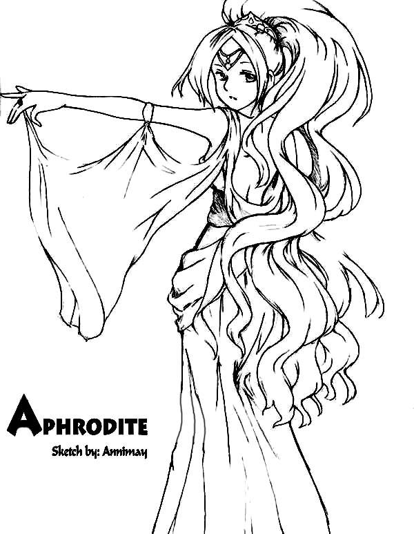600x773 Aphrodite, Drawing Aphrodite Coloring Page Godess