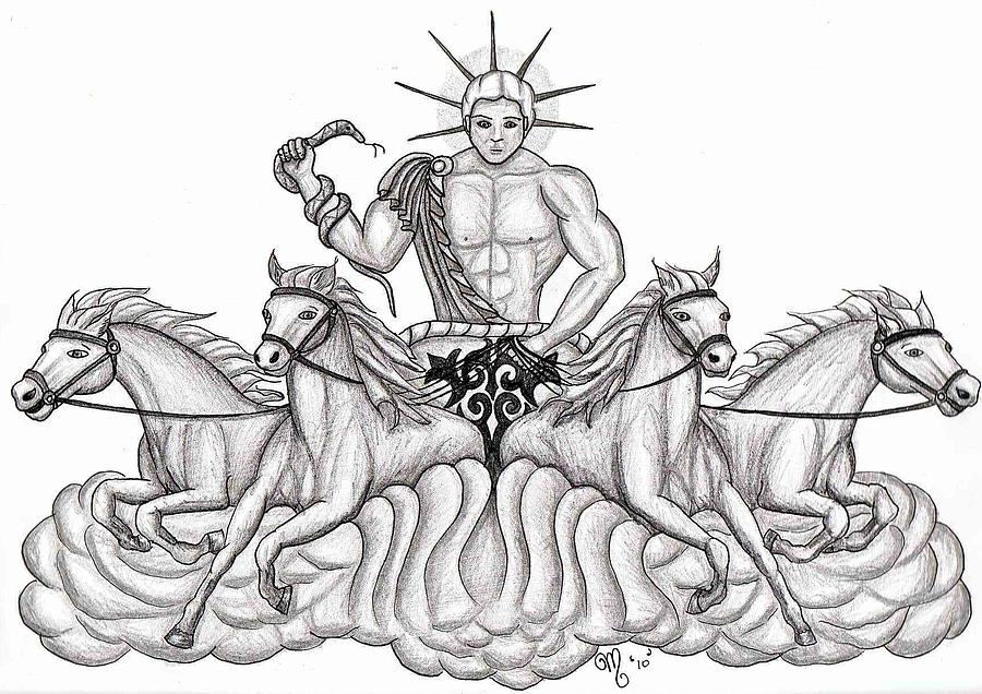 900x636 Apollo The Greek God Drawing By Amanda Machin