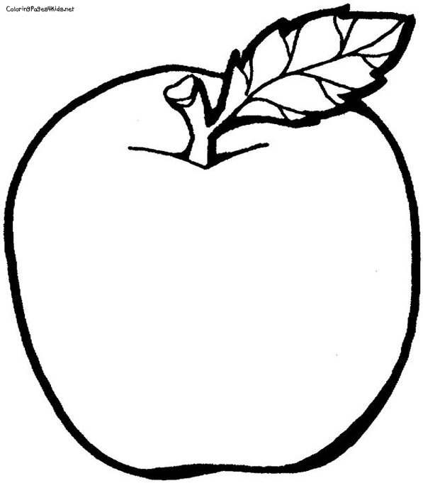 597x681 Coloring Pages Apple Fruit Drawing