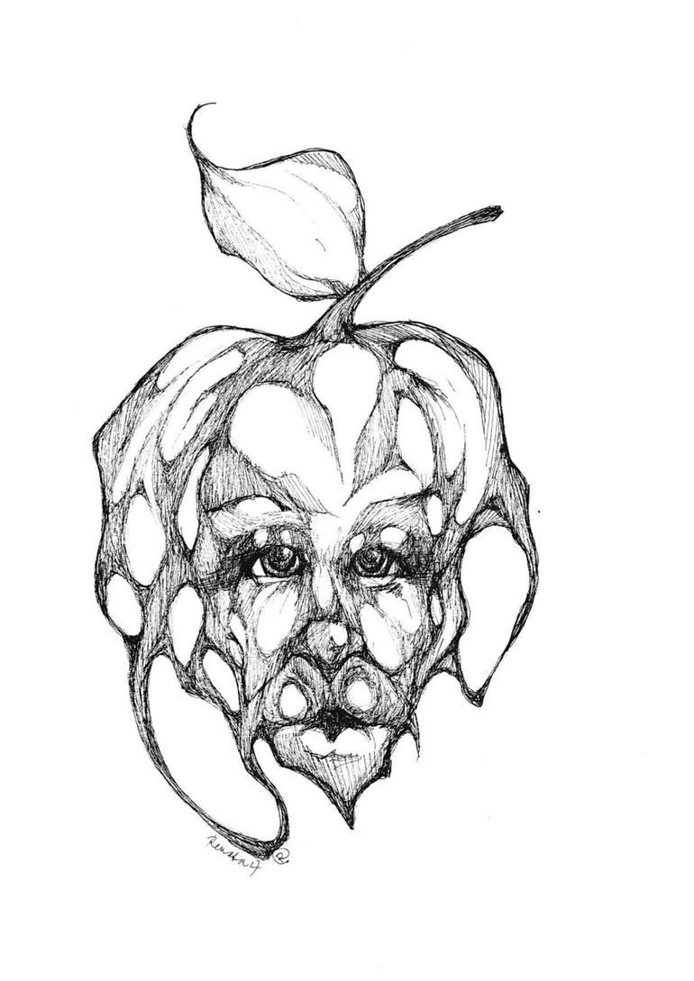 770x1089 Saatchi Art Apple Head Drawing By Renata Lombard