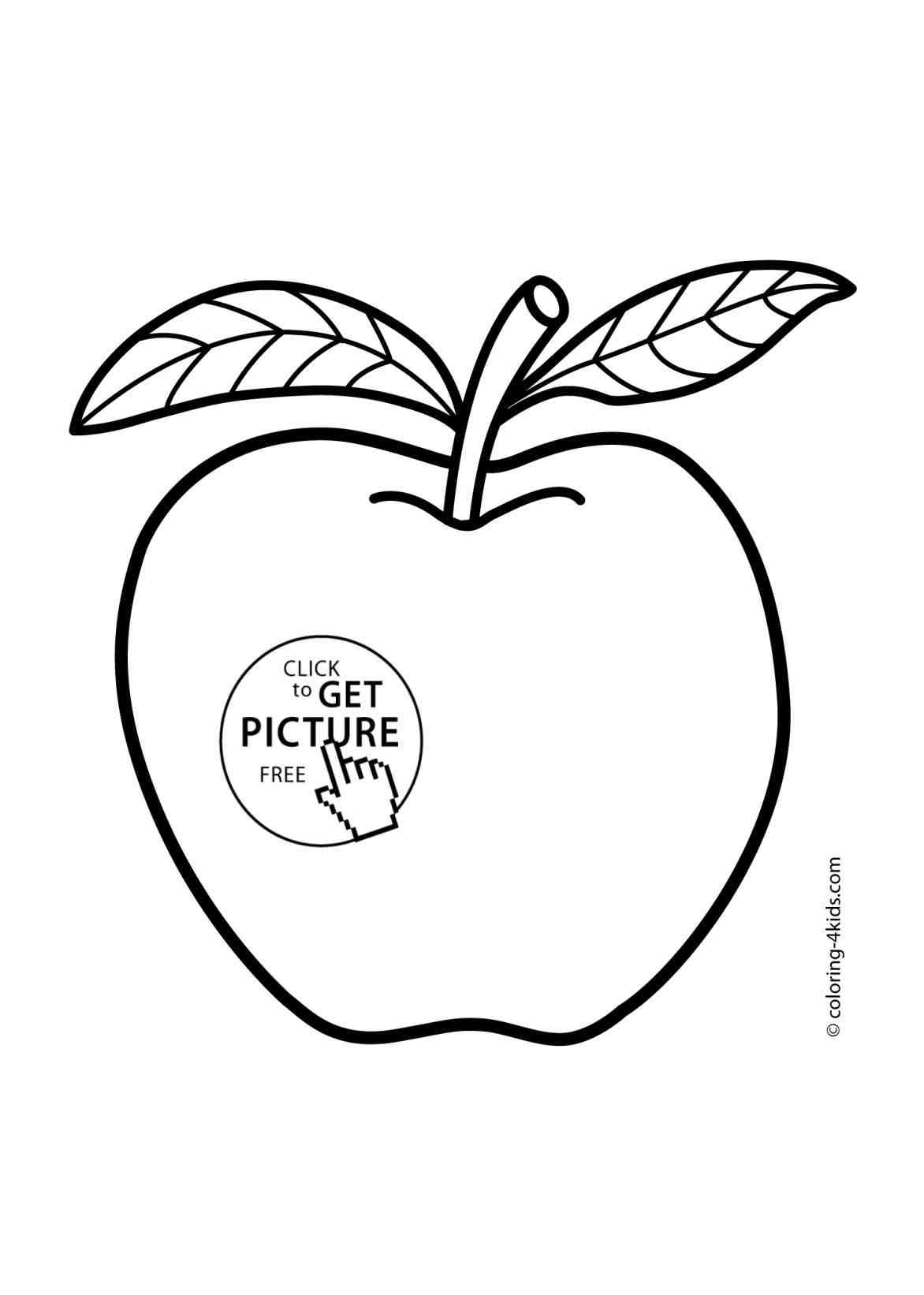 1172x1642 The Images Collection Of Apple Drawing For Kids Fruits Coloring