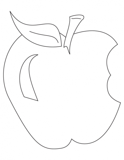 420x542 Bitten Apple With Leaf Coloring Page Download Free Bitten Apple