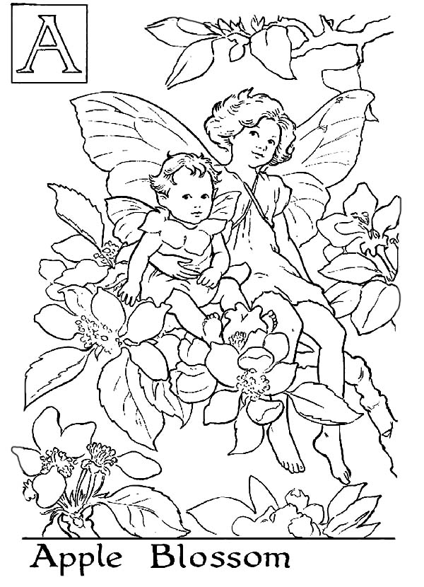 600x830 Letter A For Apple Blossom Flower Fairy Coloring Page Dringrames