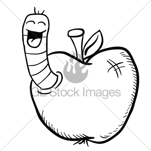500x500 Black And White Cartoon Apple With Worm Gl Stock Images