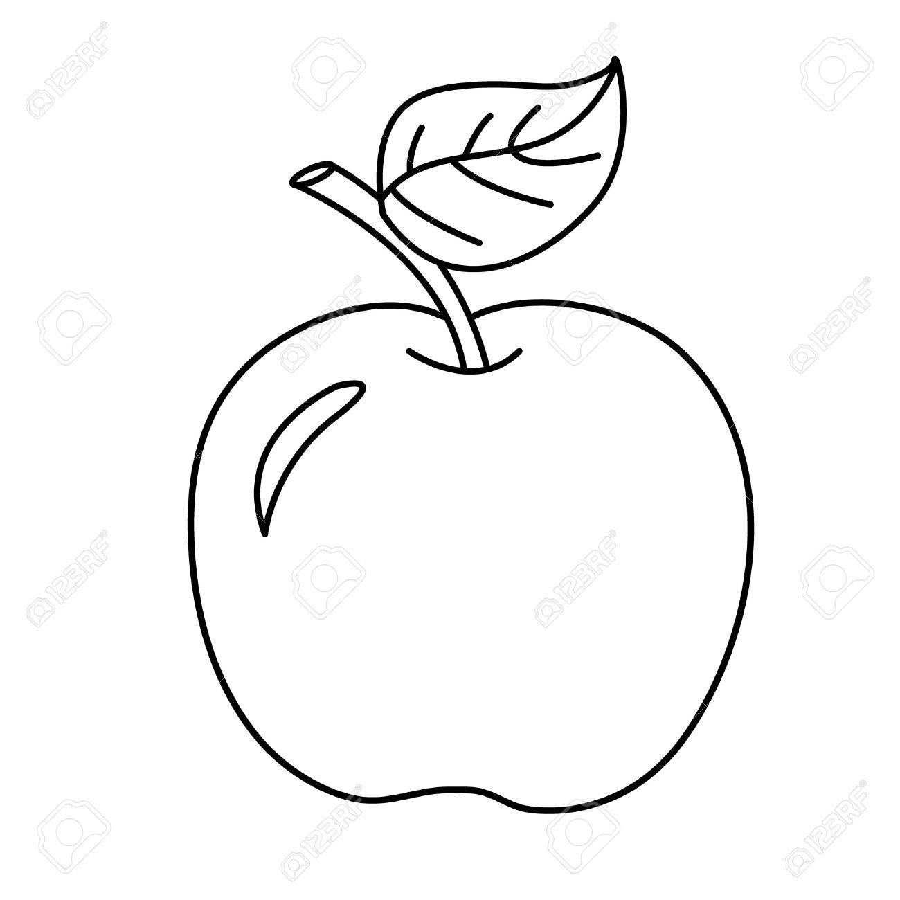 1300x1300 Coloring Page Outline Of Cartoon Apple. Fruits. Coloring Book