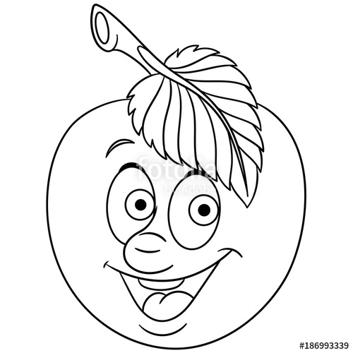 500x500 Coloring Book. Coloring Page. Cartoon Apple Character. Happy Fruit