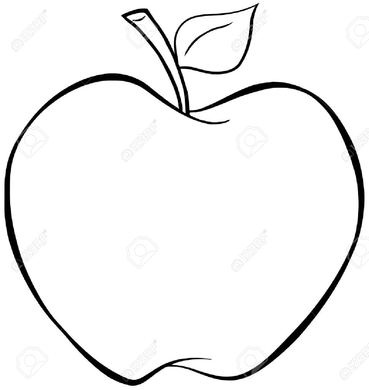 1232x1300 Outlined Cartoon Apple Royalty Free Cliparts, Vectors, And Stock
