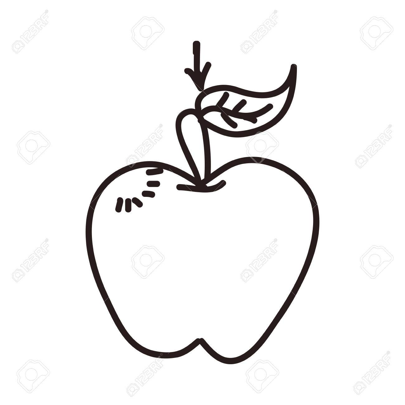 1300x1300 Apple Cartoon Draw Vector Icon Illustration Graphic Design Royalty