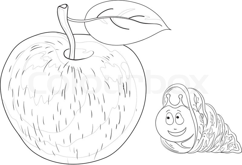 800x545 Vector Cartoon, Cheerful Snail And Delicious Apple With A Leaf