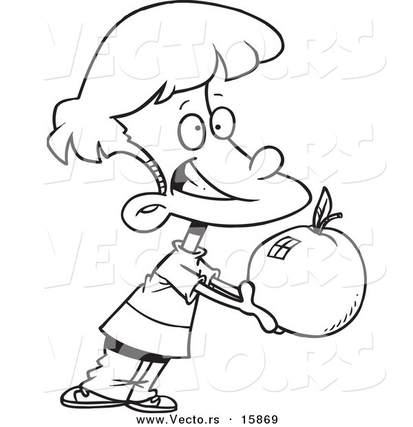 600x620 Vector Of A Cartoon School Boy Holding Out A Large Apple