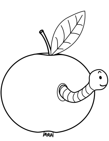 371x480 Worm Is Coming Out Of Apple Coloring Page Free Printable