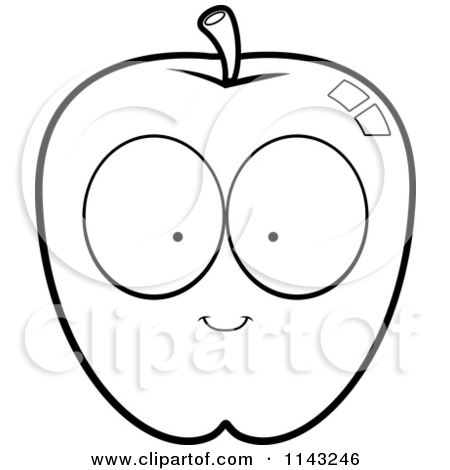 450x470 Apple Cartoon Clipart Black And White