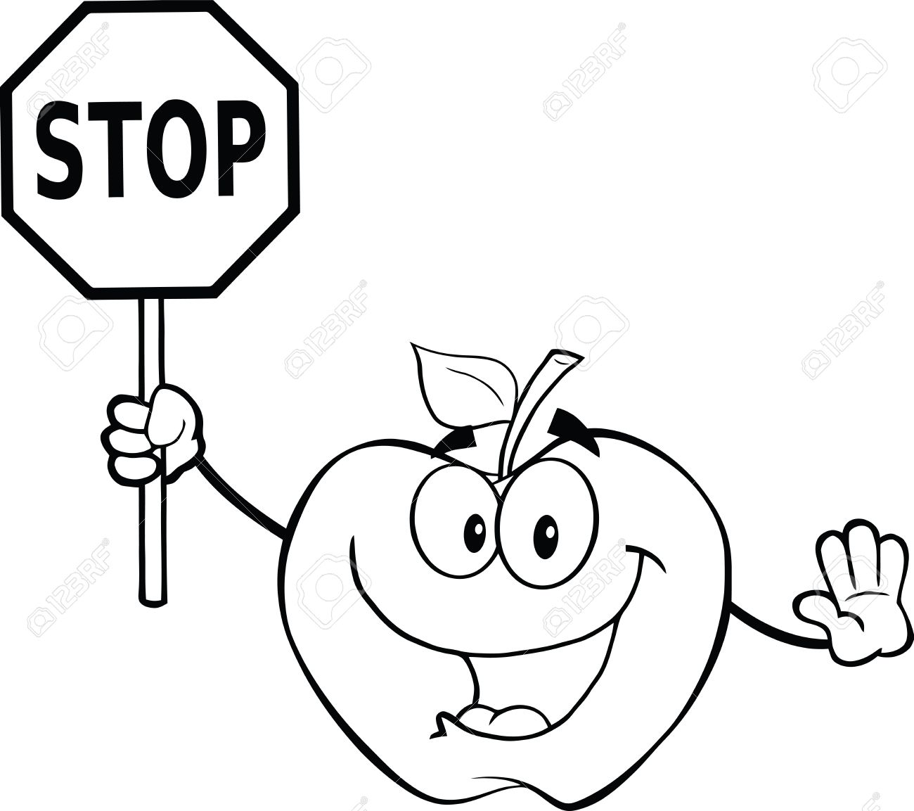 1300x1153 Black And White Apple Cartoon Mascot Character Holding A Stop