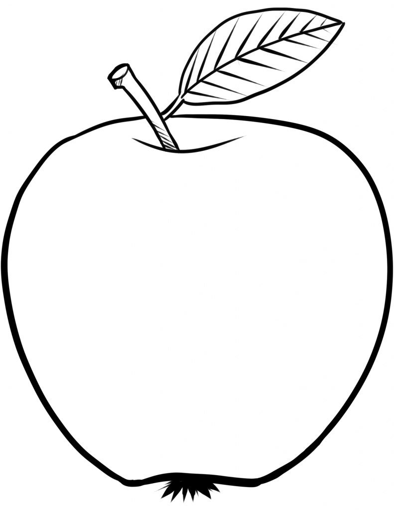 791x1024 Apple Big Leaf Coloring Page
