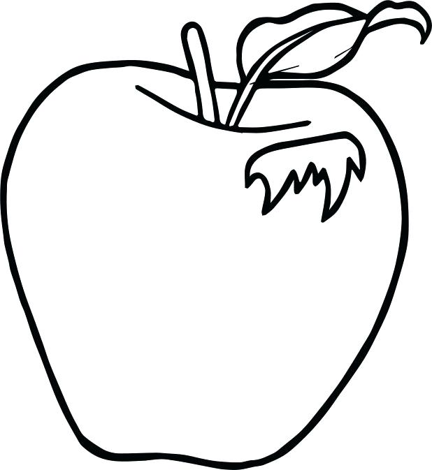 618x673 Coloring Picture Of An Apple Drawing Apple Basket Coloring Pages