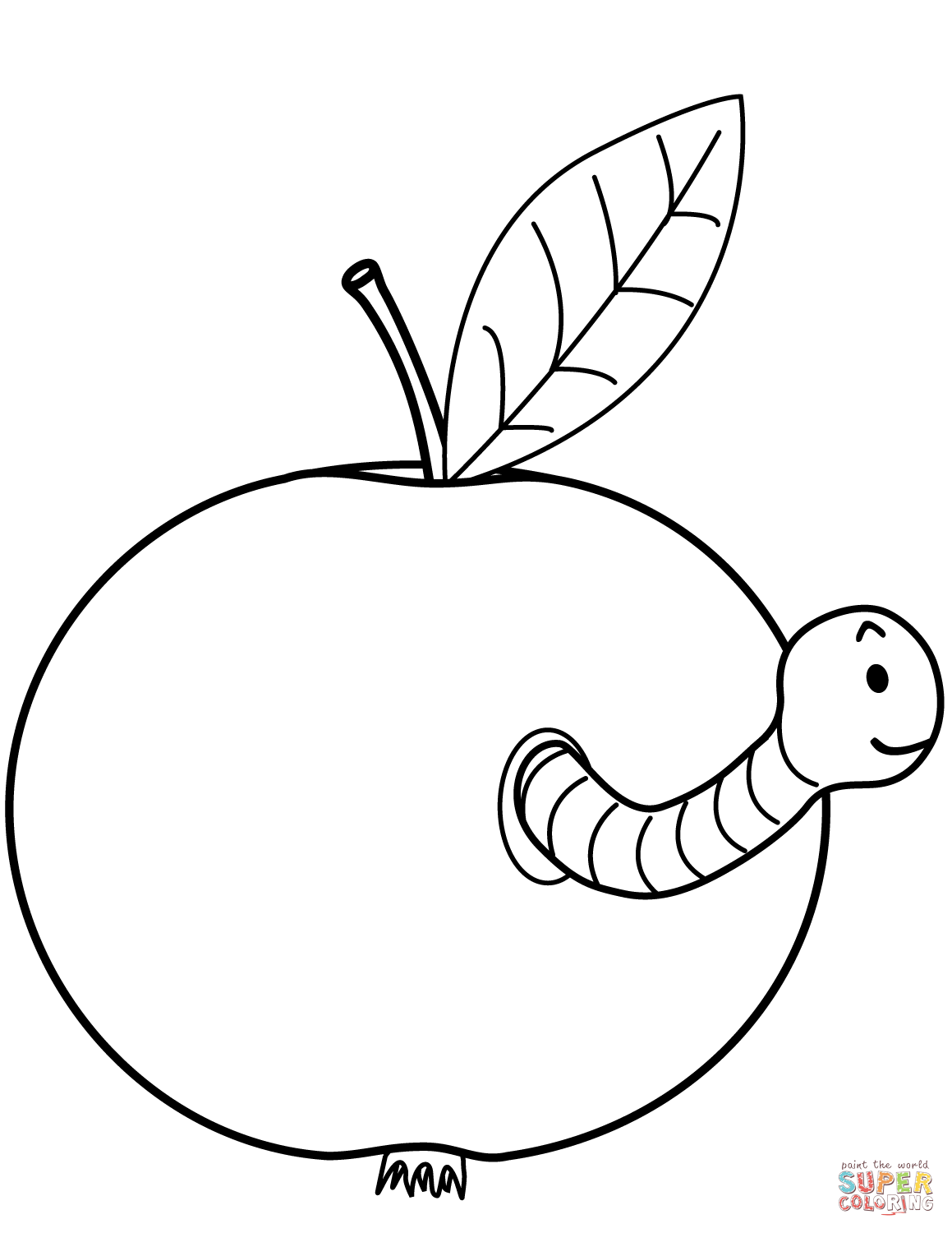 1159x1500 Worm Is Coming Out Of Apple Coloring Page Free Printable