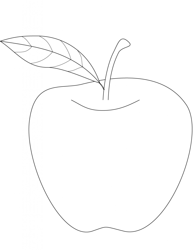 791x1024 Apple Picture Coloring Page