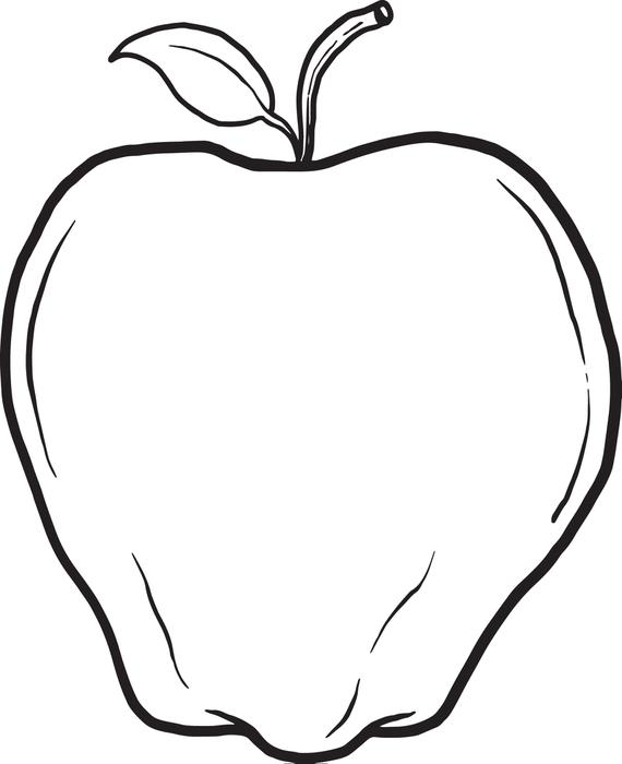 570x700 Free Printable Apple Coloring Page For Kids