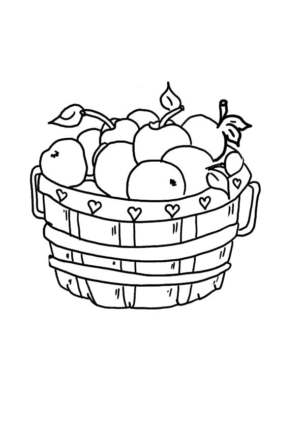 600x844 How To Draw Apple Basket Coloring Pages Best Place Color