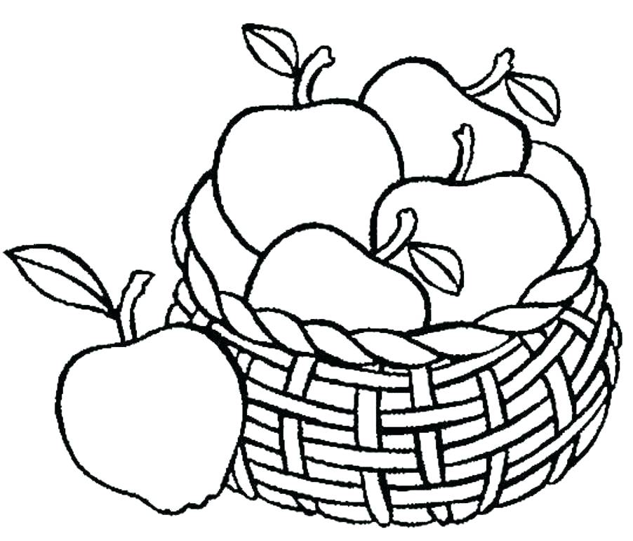 902x770 Coloring Page Of An Apple Fruits Pages Fruit