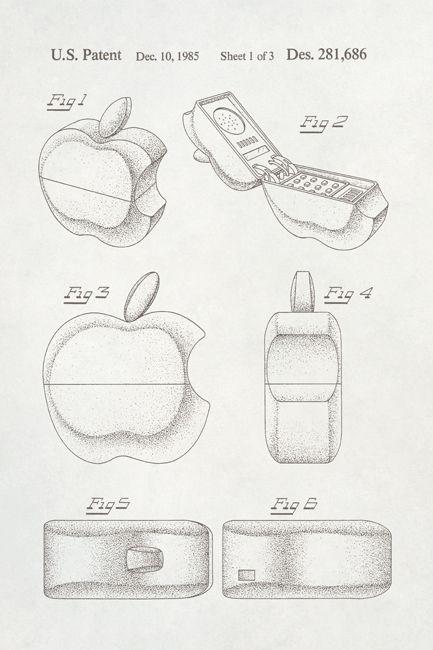 433x650 Apple Logo Phone Patent Art Poster Print Apple Logo, Art Posters