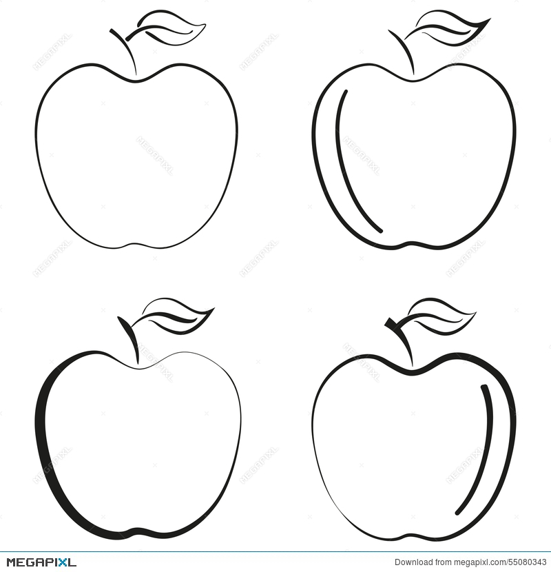 800x830 Outlined Apple Fruit Icon Black Silhouette Logo Vector Design