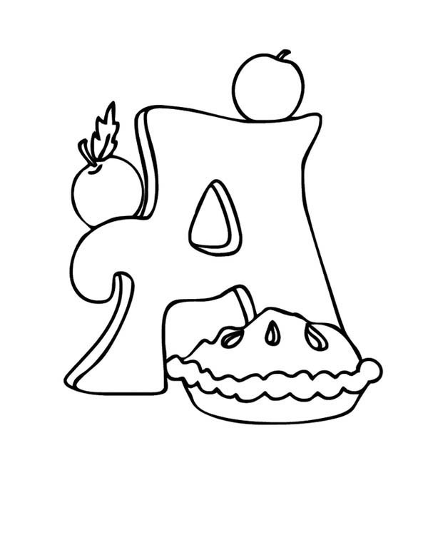600x750 Apple Pie On Learning Letter A Coloring Page Best Place To Color